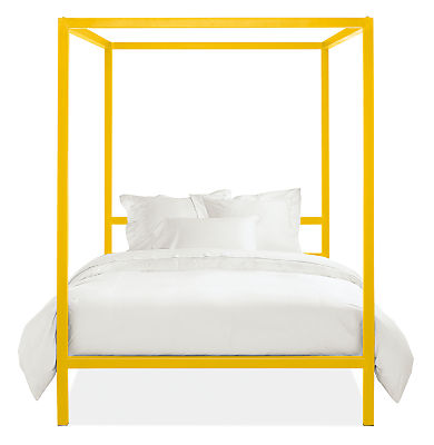 yellow canopy bed