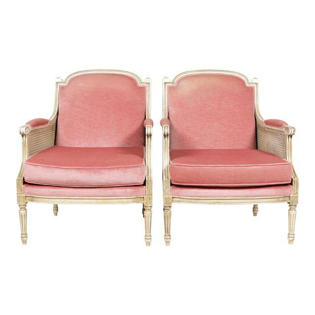 pair of antique velvet pink chairs