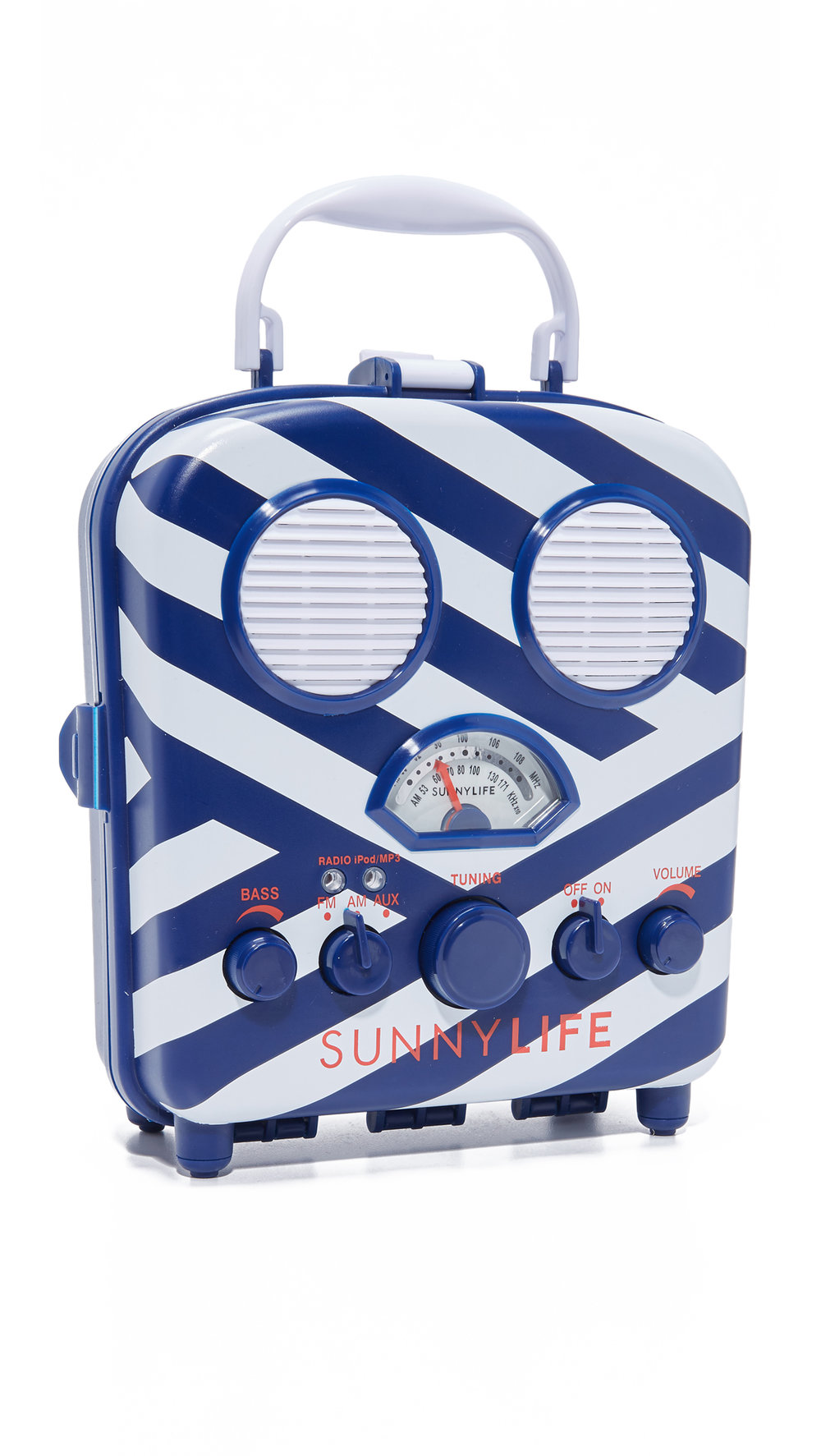 blue and white stripe radio + speaker