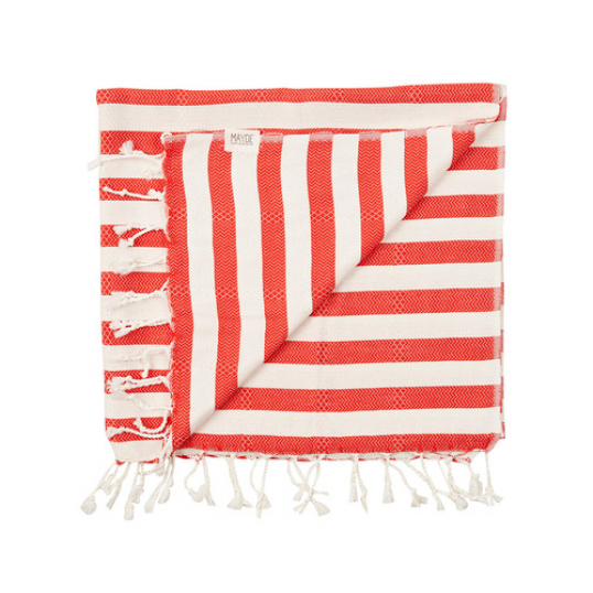 red + white soludos towel