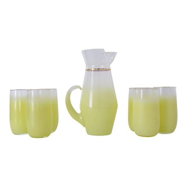 vintage 1970s pitcher + cups