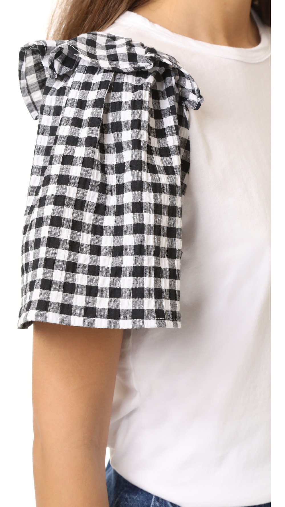 gingham sleeve top
