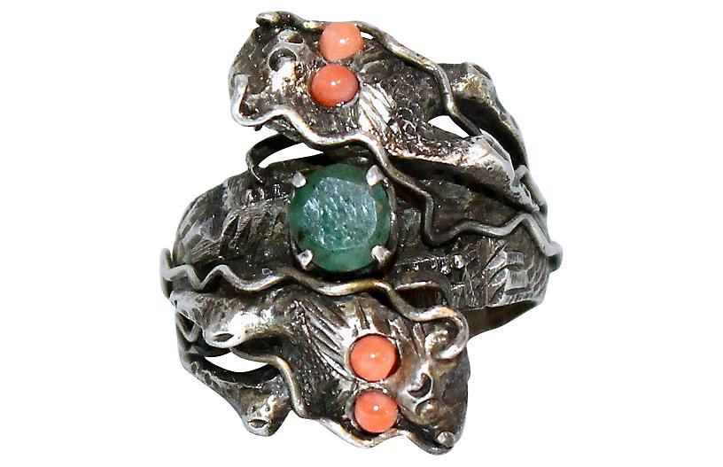 vintage silver, coral + emerald ring