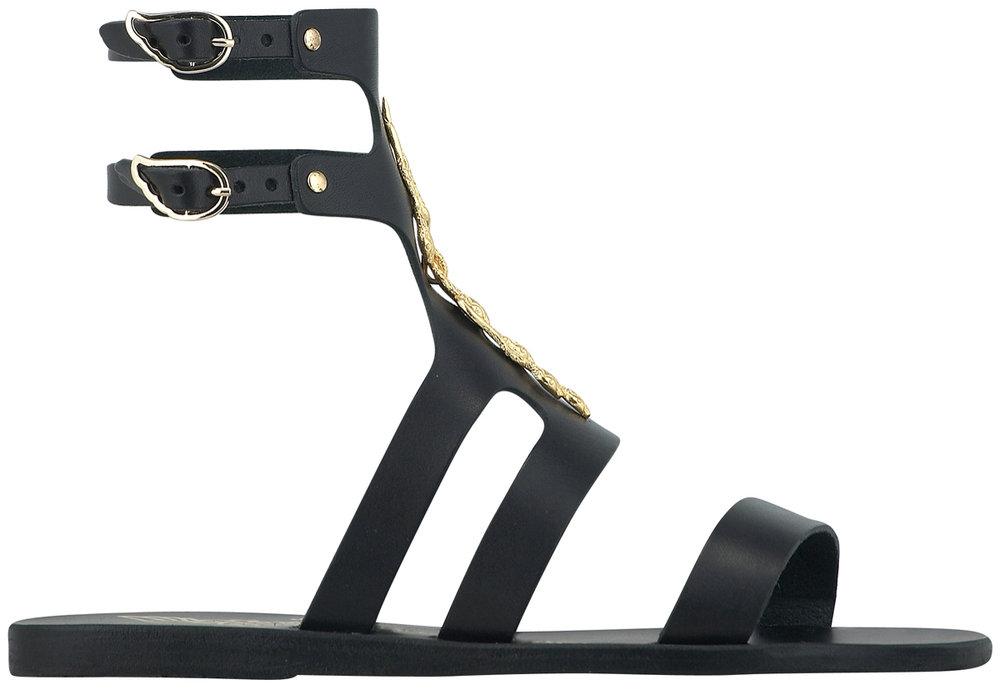 black + snake gladiator sandals