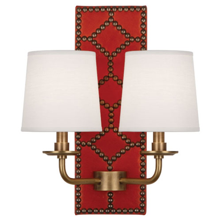 red leather + nailhead sconce