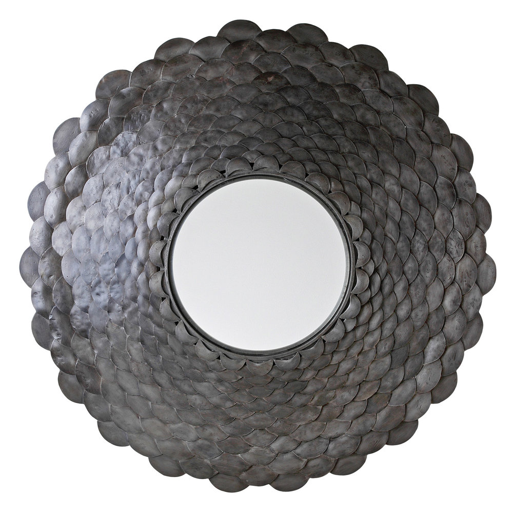 iron + glass round mirror