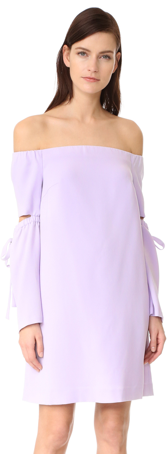 lavender off-shoulder dress