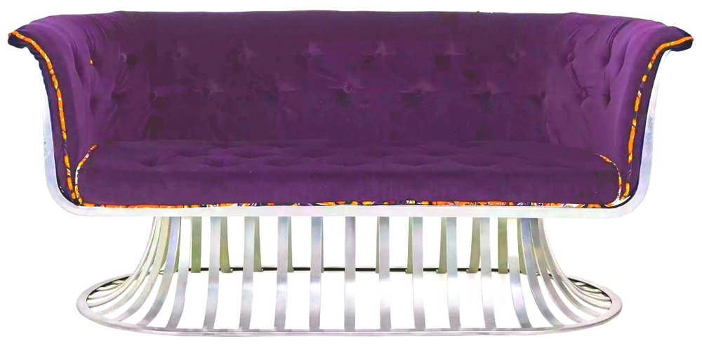 tufted purple velvet sofa