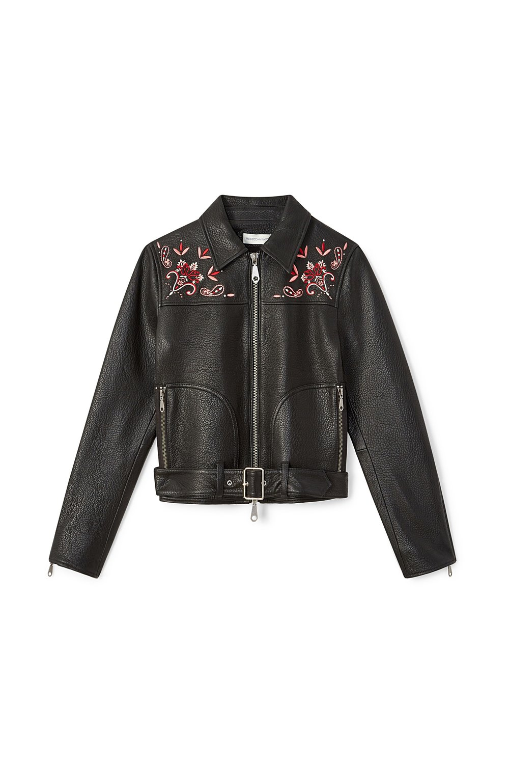black leather jacket with floral embroidery