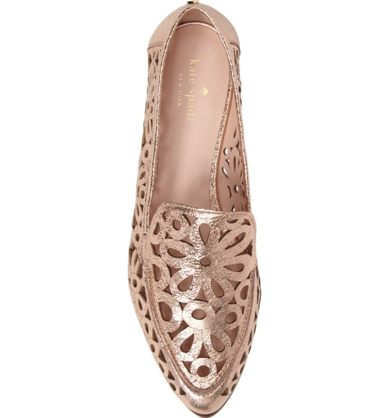 rose gold floral loafers