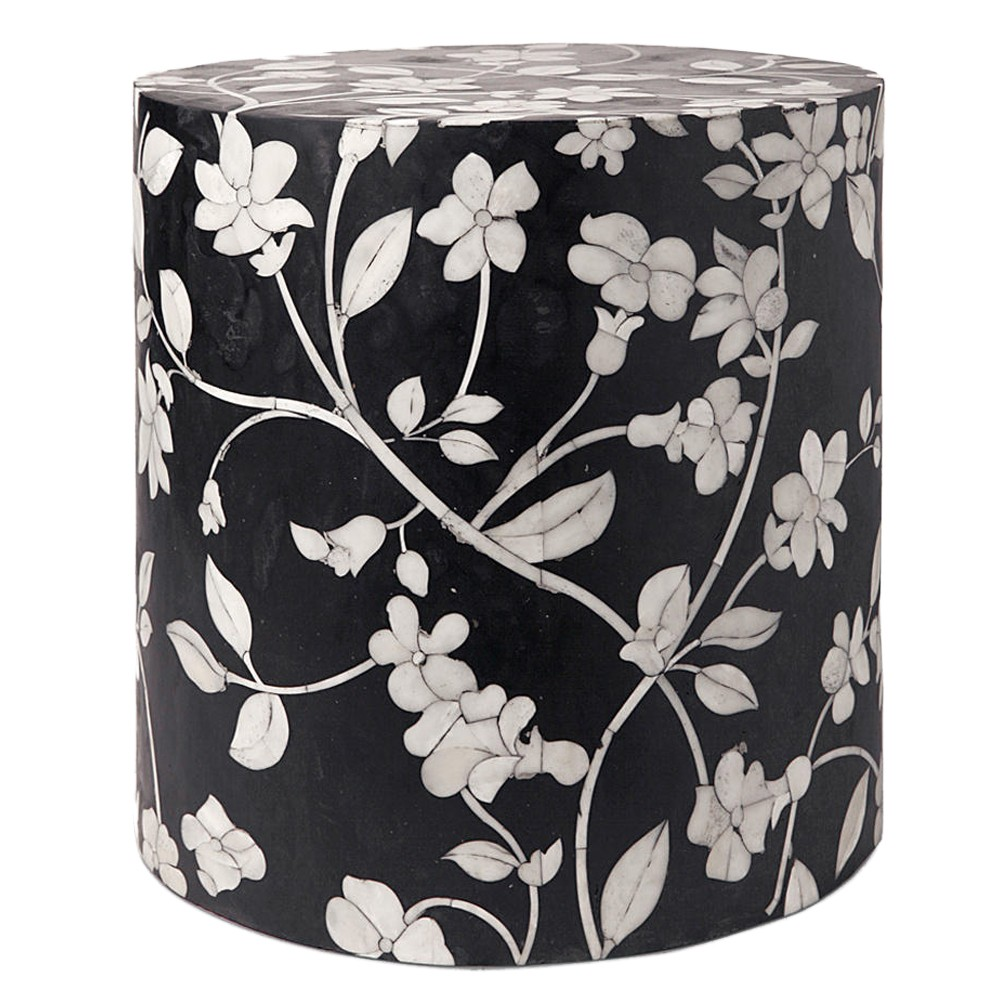 black + white floral stool