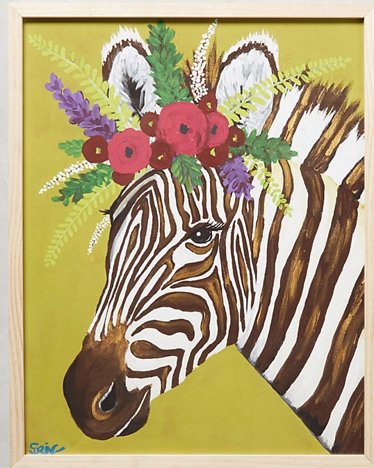 zebra + floral wall art