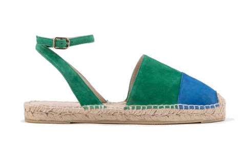 blue + green suede espadrilles