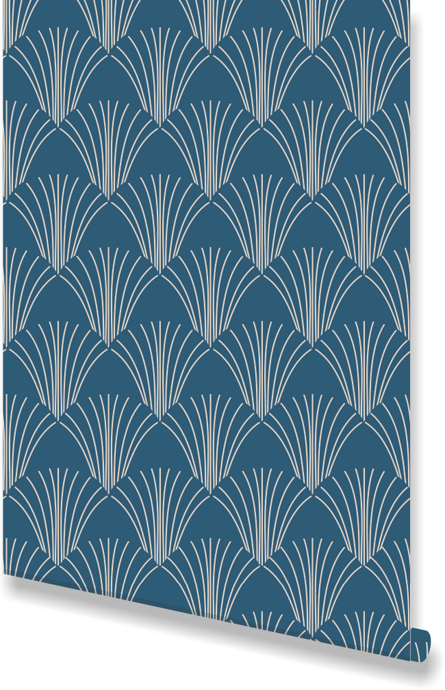 blue art deco wallpaper