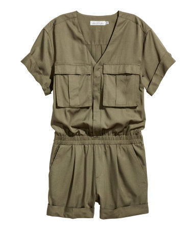 h&m olive green jumpsuit