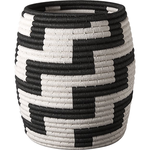 cb2 black + white basket