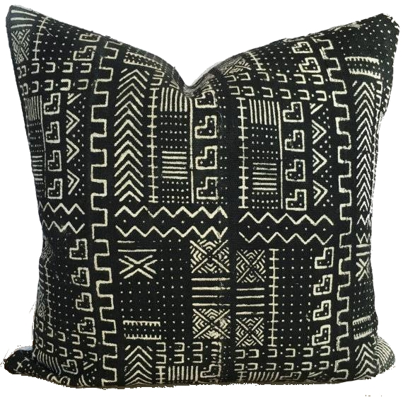 black + white mud cloth pillow