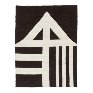 black + white wool rug