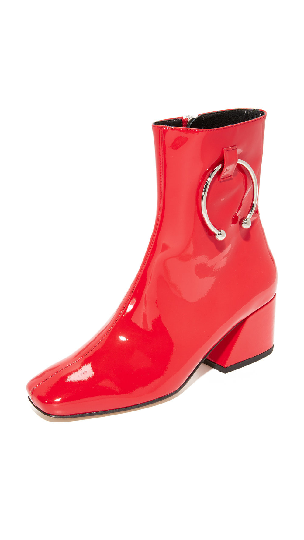 red patent leather booties