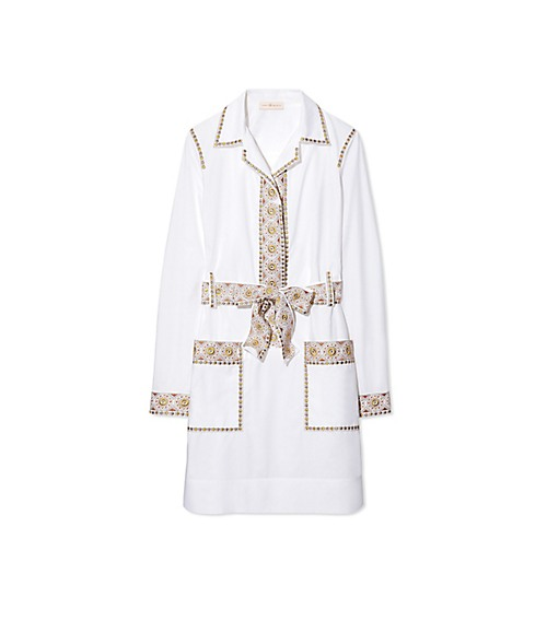 tory burch white belted dress
