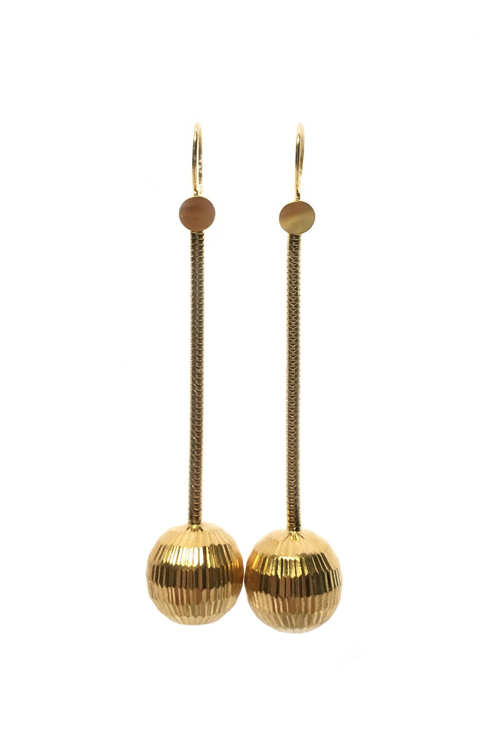 brass disco ball earrings