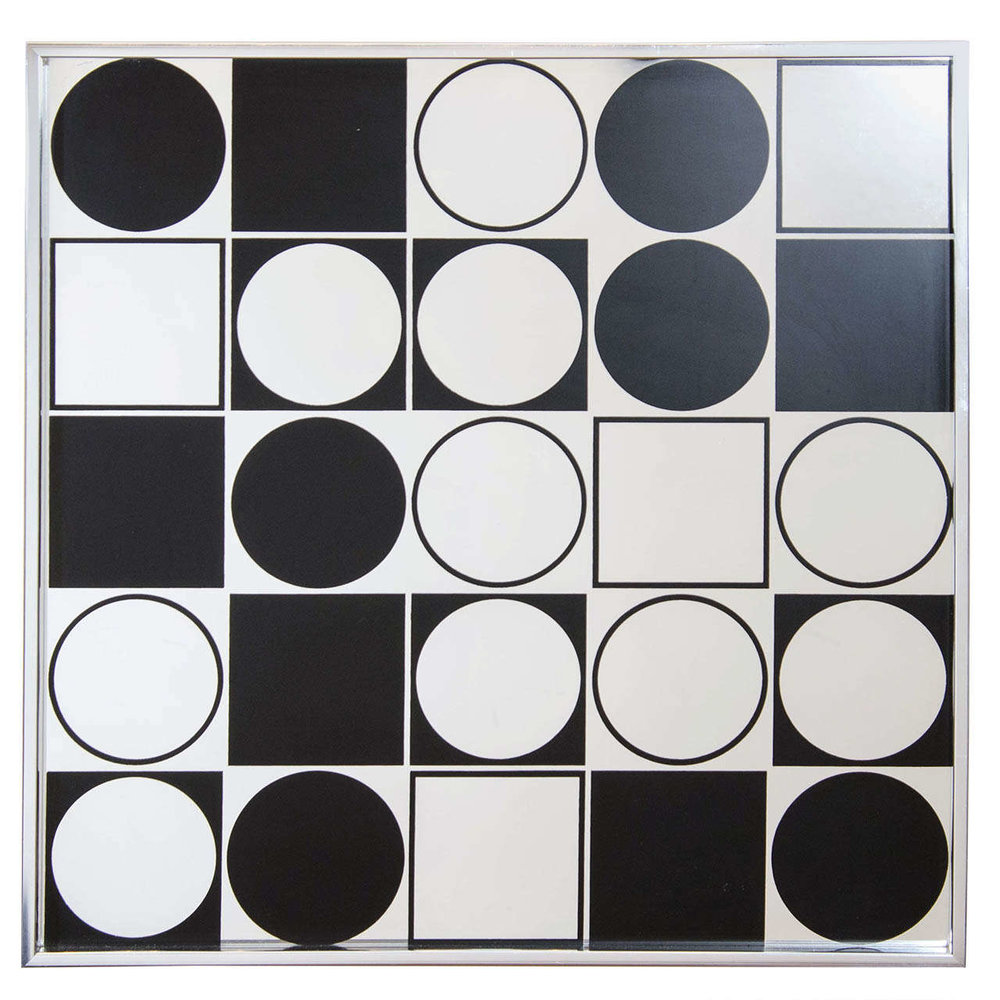 mod black + white graphic mirror
