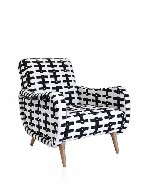 geometric black + white armchair