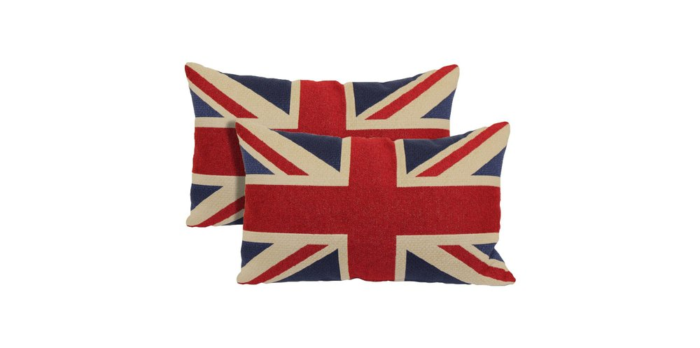 pair of union jack throw pillows