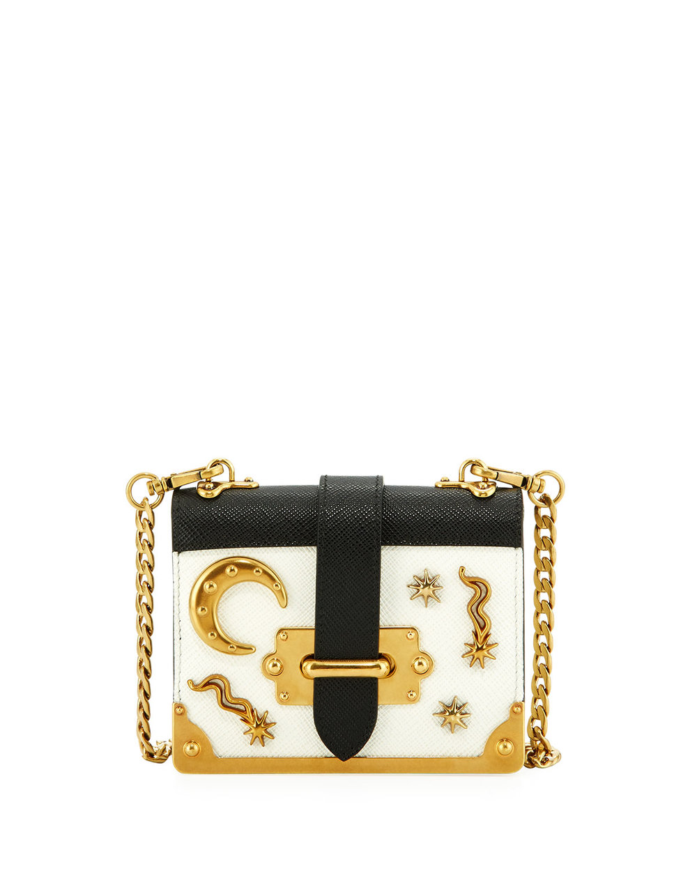 prada black + white + gold bag