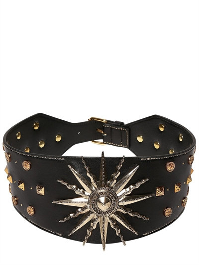 black leather + gold belt