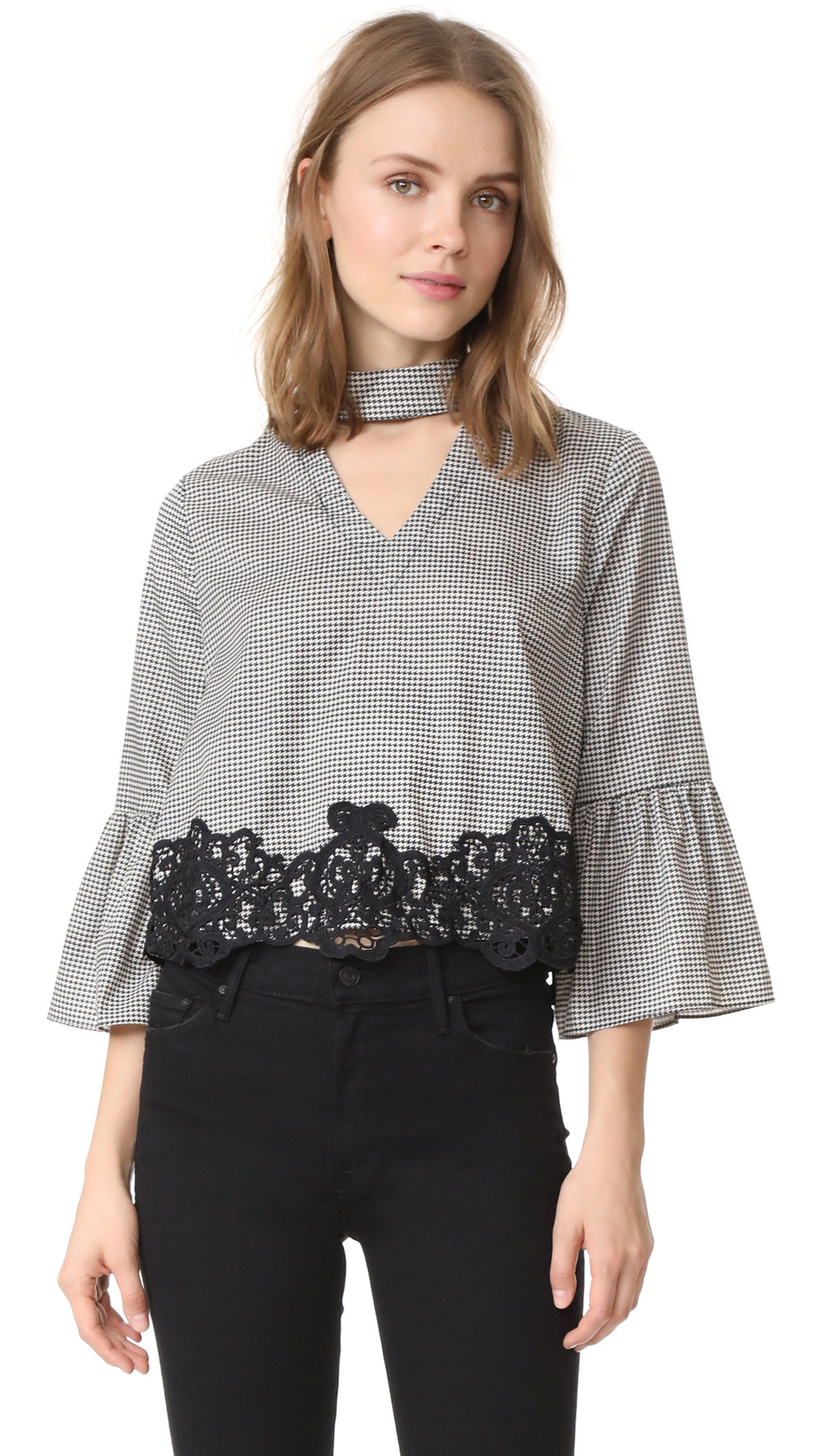 gingham + lace blouse