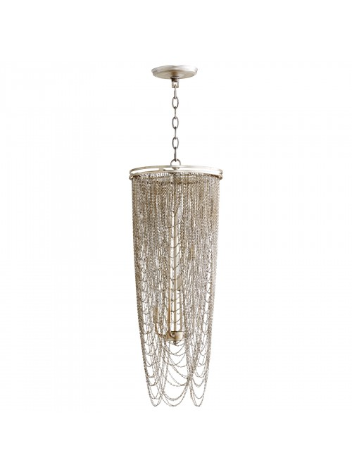 iron + silver leaf pendant light
