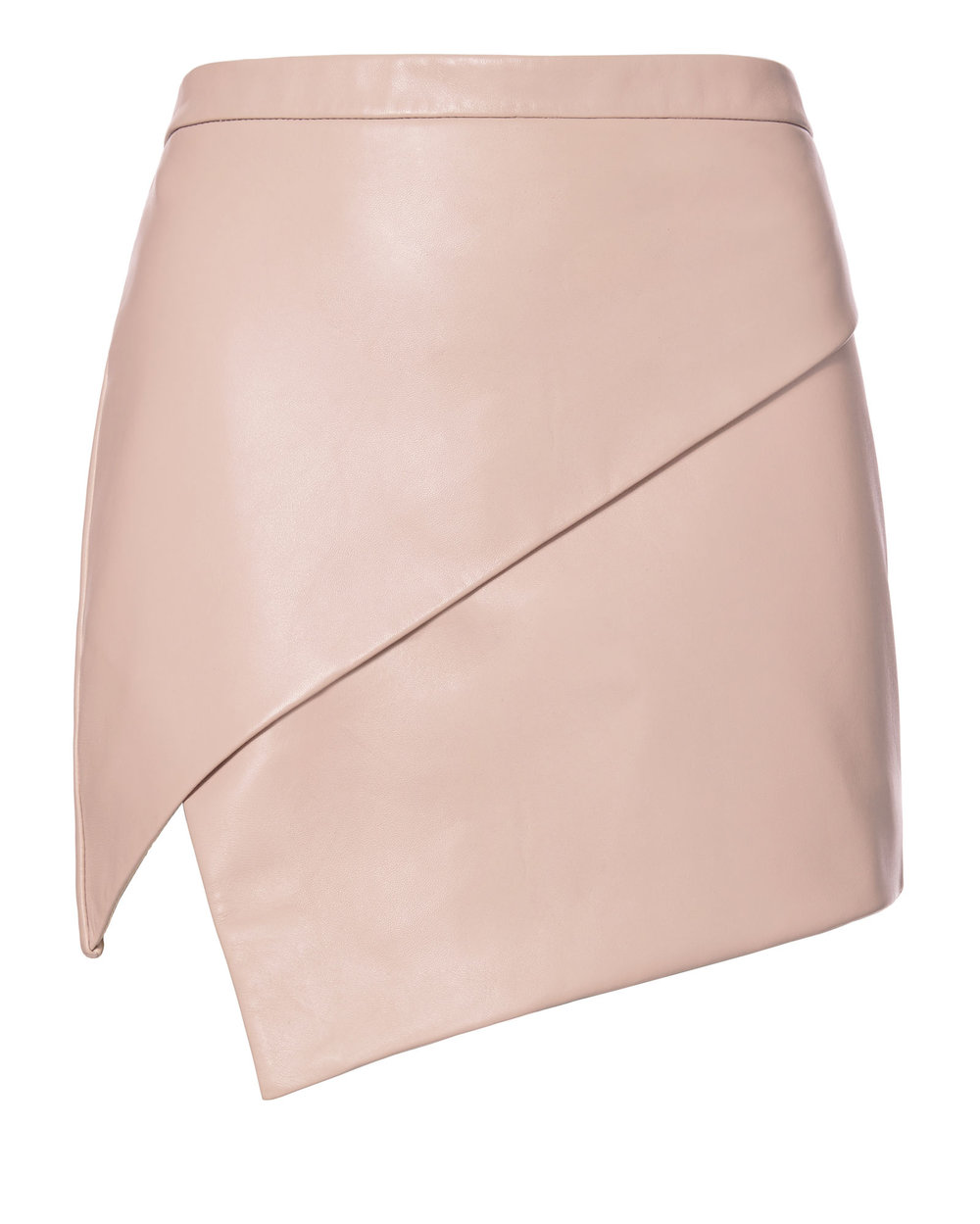 blush leather asymmetric mini skirt