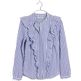 striped ruffle front blouse