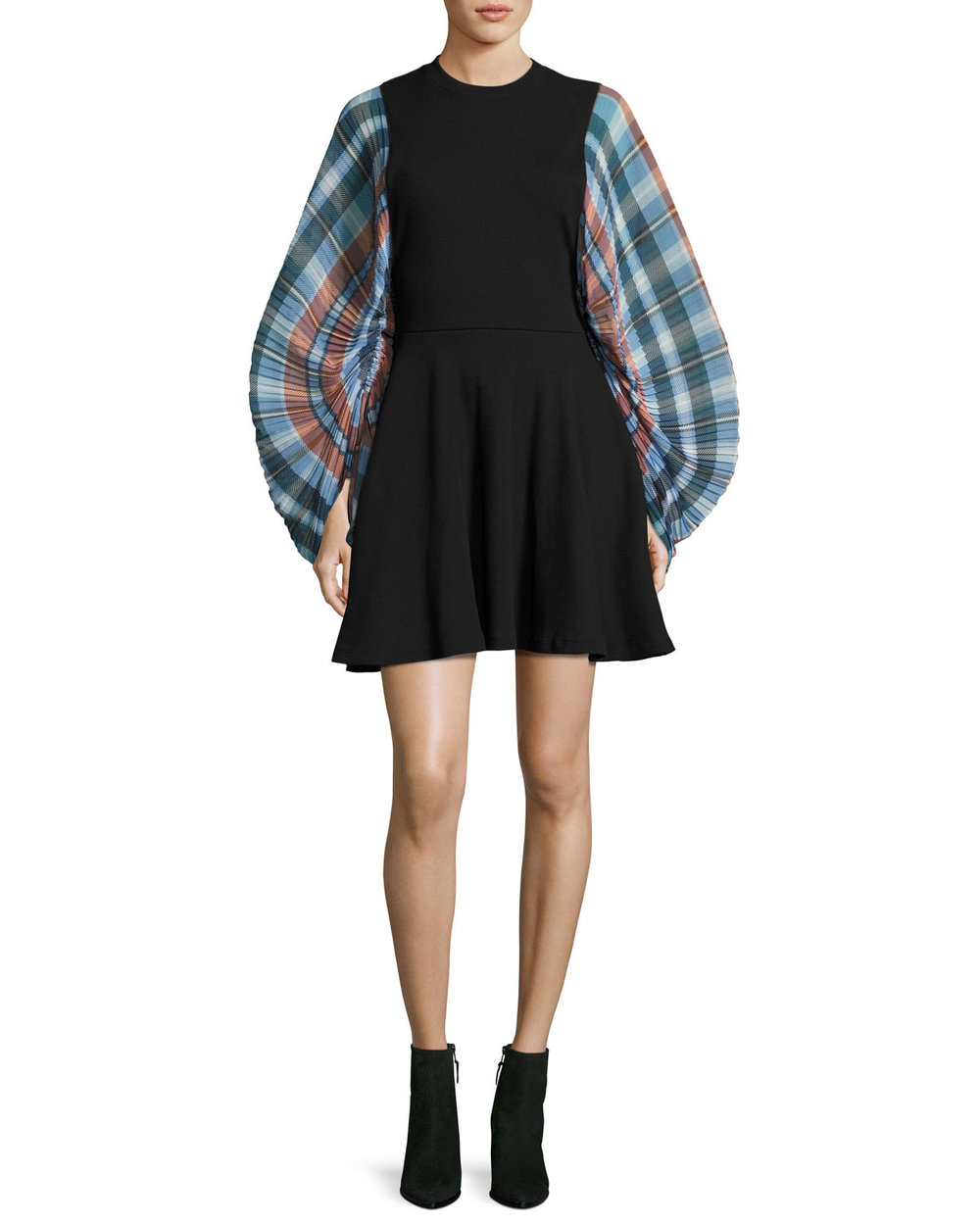 opening ceremony plaid sleeve dress