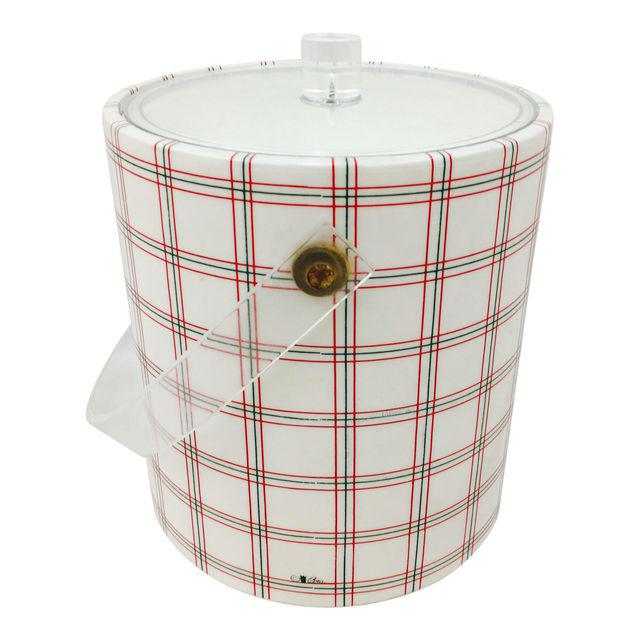vintage mid-century plaid ice bucket