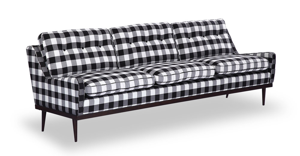 black + white plaid sofa