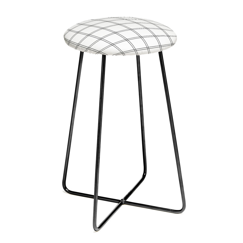 white + black plaid stool