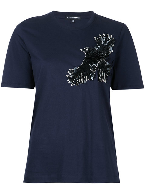 black sequin bird tee