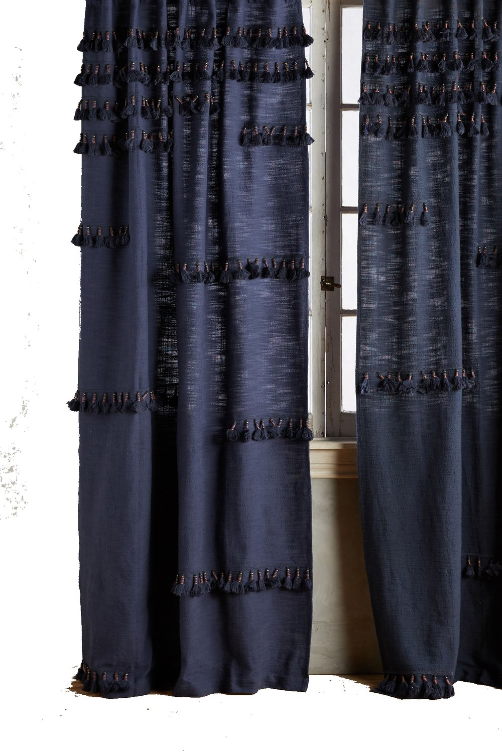 indigo ruffled curtain