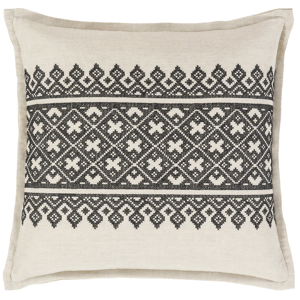 black patterned throw pillow