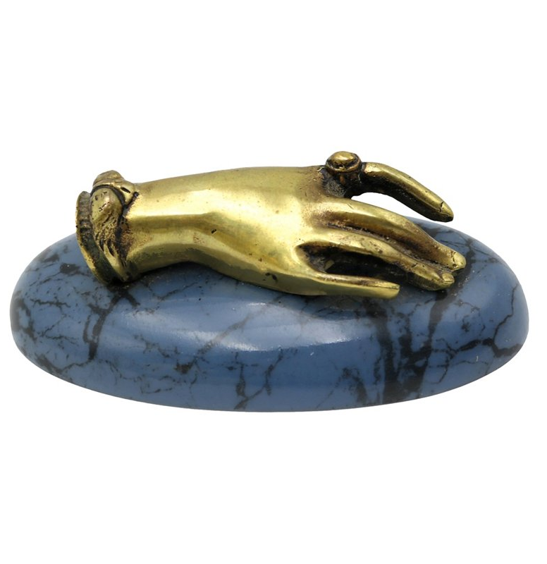antique brass hand paperweight