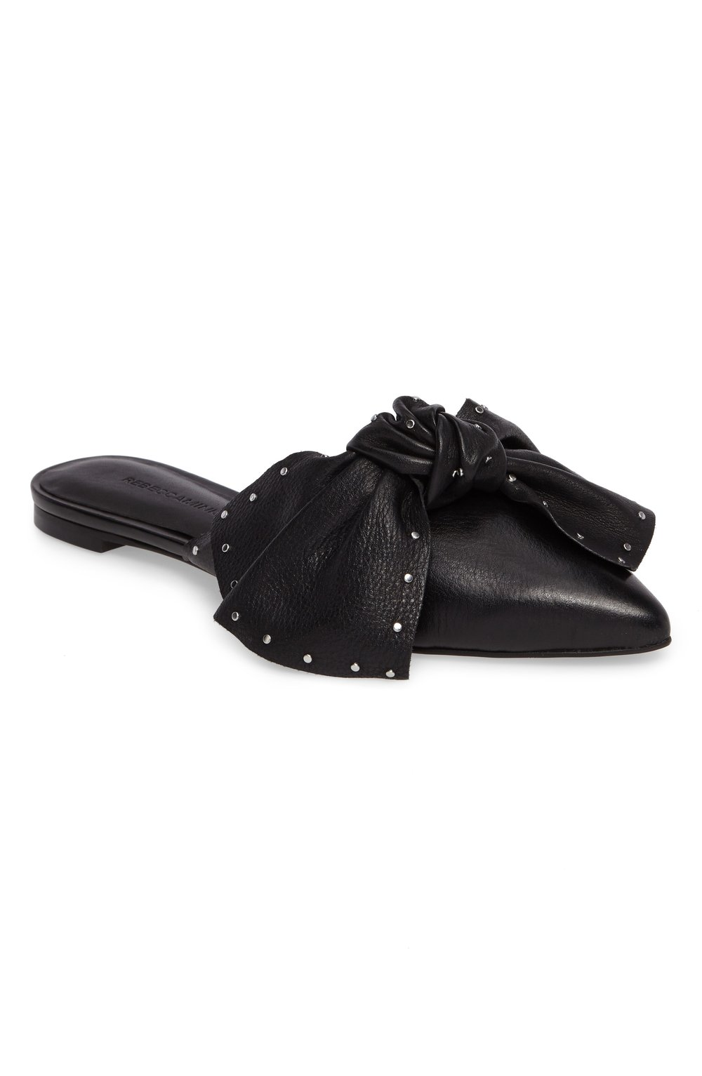 black stud knotted mules