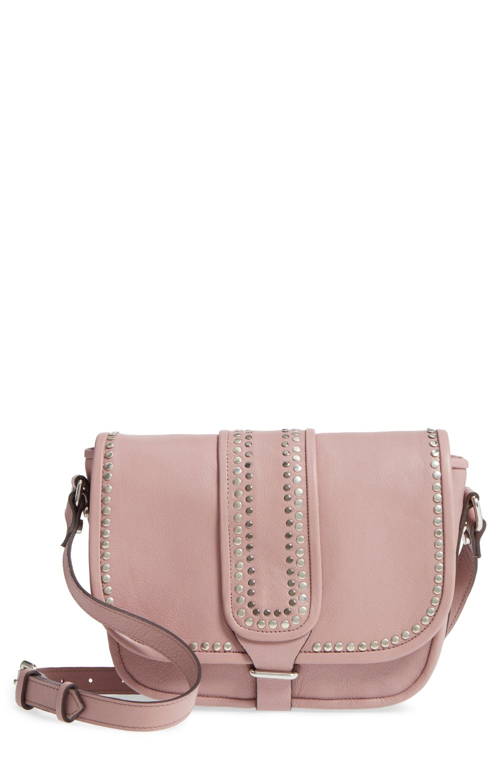 studded blush leather bag