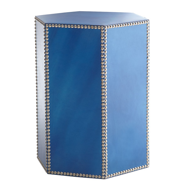 blue leather + nickel studded stool
