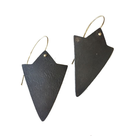 gold + black metal arrowhead earrings