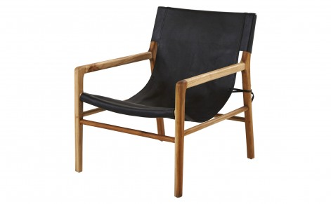 black + wood arm chair