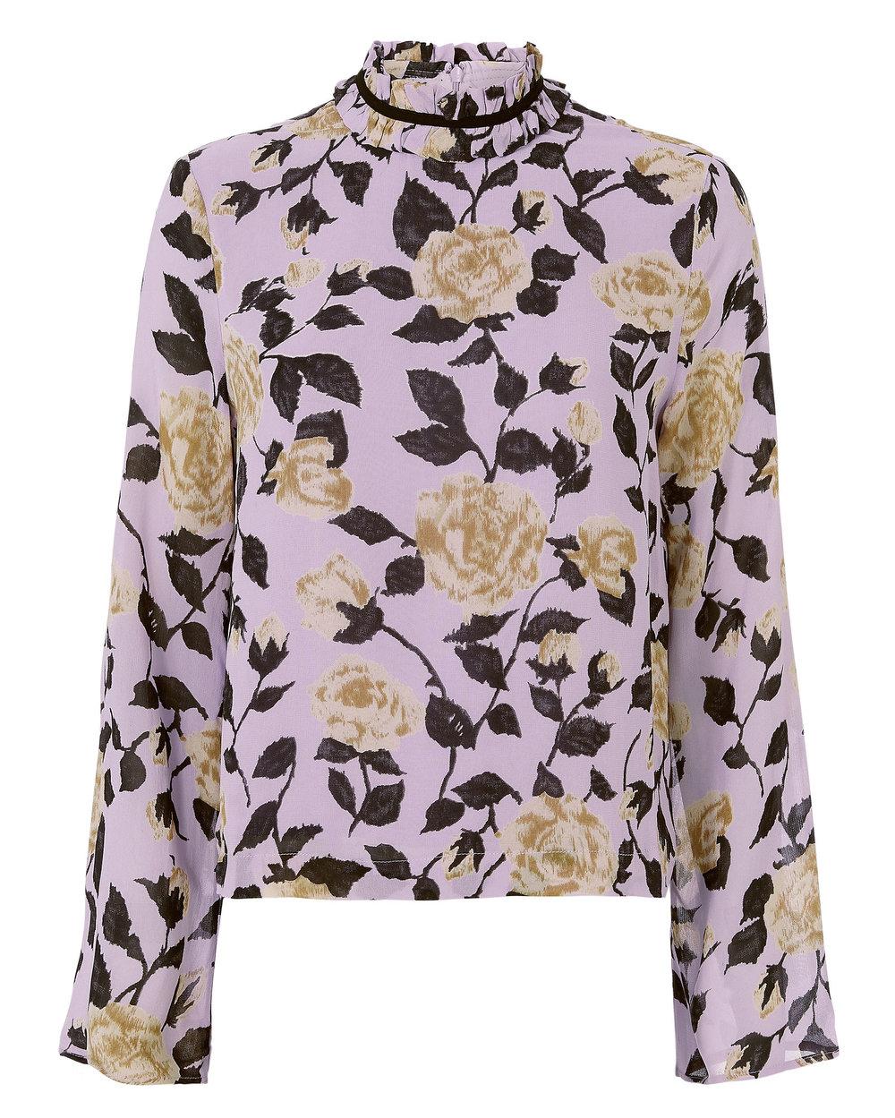 lavender + black floral blouse