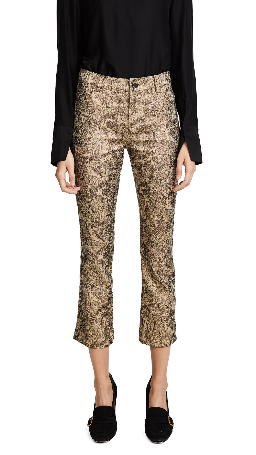 gold jacquard cropped pants