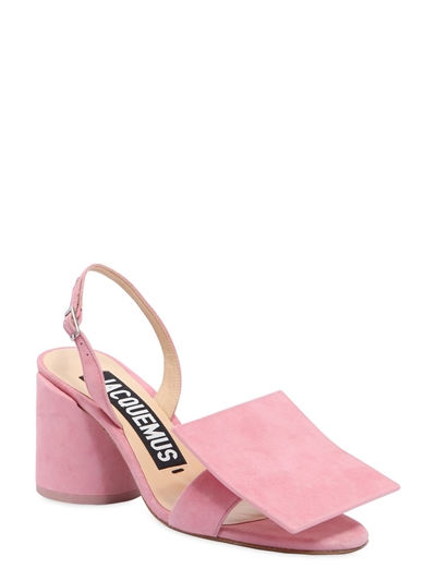 pink circle + square suede heels